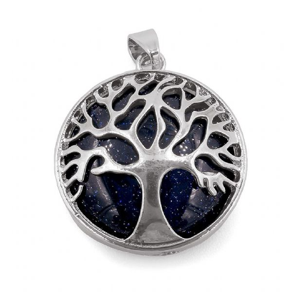 Rhodium Plated Blue Goldstone Tree of Life Pendant 27mm x 31mm